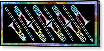 Colorwashed Trombones Canvas Print by Jenny Armitage