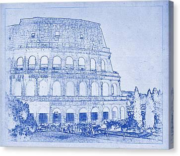 Colosseum Of Rome Blueprint Canvas Print by Kaleidoscopik Photography