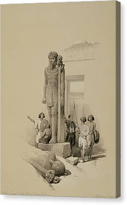 Colossus In Front Of The Temple Of Wady Sabona, Ethiopia  Canvas Print by David Roberts