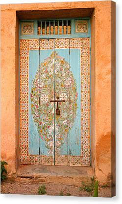 Colourful Moroccan Entrance Door Sale Rabat Morocco Canvas Print by Ralph A  Ledergerber-Photography