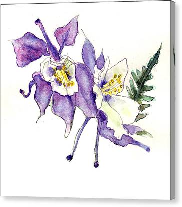 Columbine Flowers Art Canvas Print by Blenda Studio