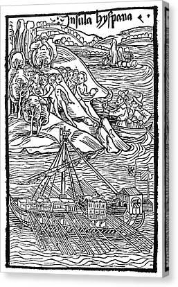 Columbus Hispaniola, 1492 Canvas Print by Granger