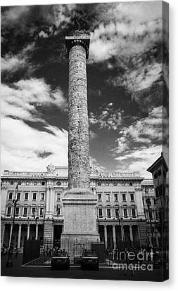 Column Of Marcus Aurelius Topped By Bronze Statue Of St Paul In Piazza Colonna Rome Lazio Italy Canvas Print by Joe Fox