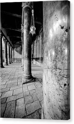 Columns At The Church Of Nativity Black And White Vertical Canvas Print by David Morefield