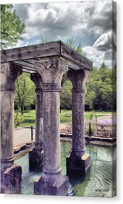 Columns In The Water Canvas Print by Jeff Kolker