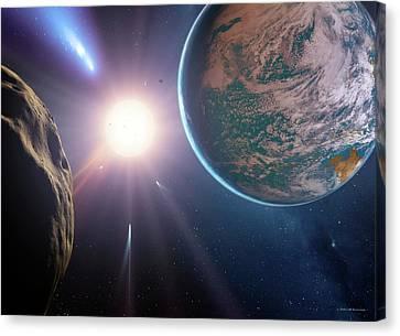 Comet Approaching Earth-like Planet Canvas Print by Detlev Van Ravenswaay