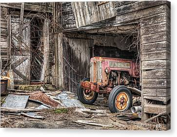 Comfortable Chaos - Old Tractor At Rest - Agricultural Machinary - Old Barn Canvas Print by Gary Heller