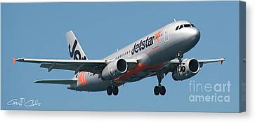 Commercial Aircraft At Sydney Airport Canvas Print by Geoff Childs