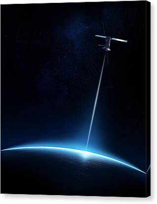 Communication Between Satellite And Earth Canvas Print by Johan Swanepoel