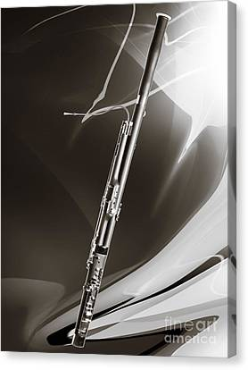Bassoon Music Instrument Fine Art Prints Canvas Prints Greeting Cards In Sepia 3410.01 Canvas Print by M K  Miller