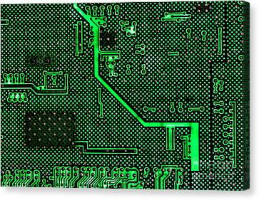 Computer Circuit Board Canvas Print by Olivier Le Queinec