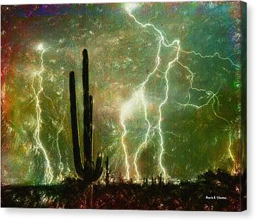 Computer Generated Image Of Lightening Canvas Print by Angela A Stanton