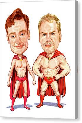 Conan  O'brien And Jim Gaffigan As Pale Force Canvas Print by Art