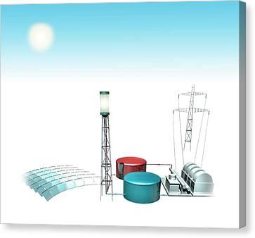 Concentrating Solar Power Plant Canvas Print by Mikkel Juul Jensen