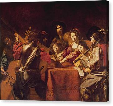 Concert With Eight People Oil On Canvas Canvas Print by Valentin de Boulogne