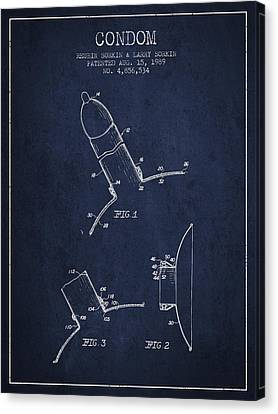 Condom Patent From 1989 - Navy Blue Canvas Print by Aged Pixel