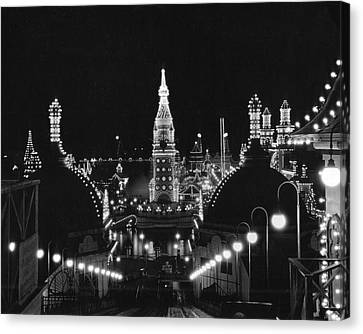 Coney Island - Nighttime Roller Coaster Canvas Print by MMG Archives