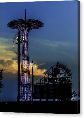 Coney Island Parachute Jump Canvas Print by Jon Woodhams