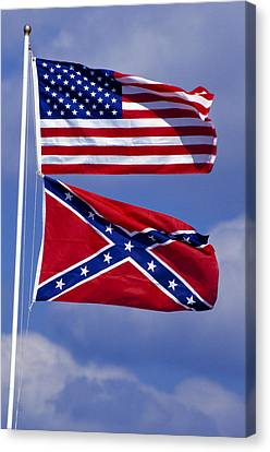 Confederate And U.s. Flags. Canvas Print by Anonymous