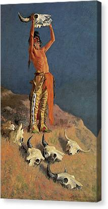 Conjuring Back The Buffalo Canvas Print by Frederick Remington
