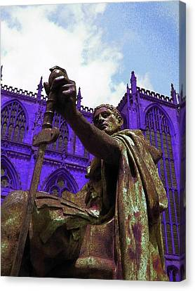 Constantine The Emperor At Yorkminster Canvas Print by ARTography by Pamela Smale Williams