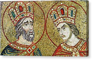 Constantine The Great 270-337 And St. Helena Mosaic Canvas Print by Veneto-Byzantine School