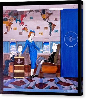 Constellation Businessman Served Martini By Sexy Stewardess Canvas Print by John Lyes