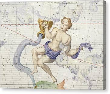 Constellation Of Aquarius Canvas Print by Sir James Thornhill
