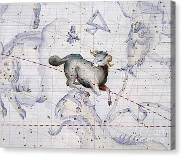 Constellation Of Aries Canvas Print by Sir James Thornhill