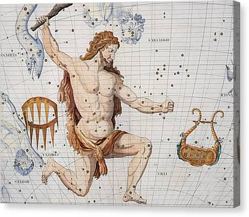 Constellation Of Hercules With Corona And Lyra Canvas Print by Sir James Thornhill