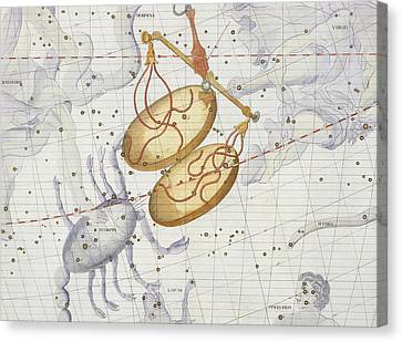 Constellation Of Libra Canvas Print by Sir James Thornhill