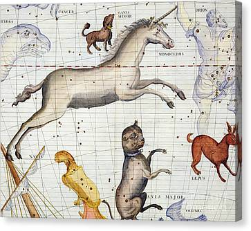 Constellation Of Monoceros With Canis Major And Minor Canvas Print by Sir James Thornhill
