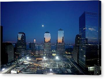 Construction At The Twin Towers Site Canvas Print by Library Of Congress