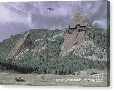 Construction Of The Flatirons - 1931 Canvas Print by Jerry McElroy