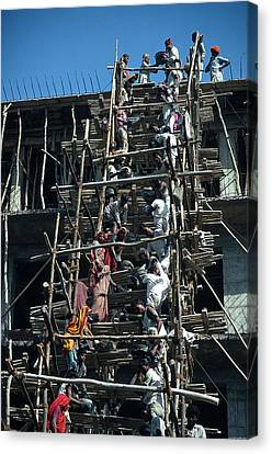 Construction Site In India Canvas Print by Carl Purcell
