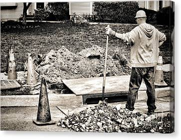Construction Worker Canvas Print by Olivier Le Queinec