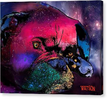 Contemplative Boxer Dog Canvas Print by Marlene Watson