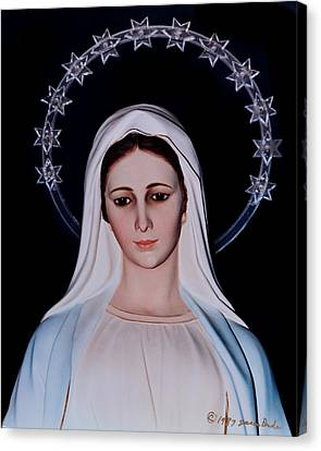 Contemplative Our Lady Queen Of Peace  Canvas Print by Susan Duda