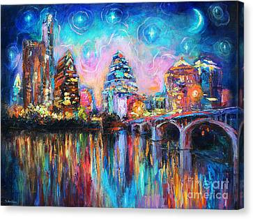 Contemporary Downtown Austin Art Painting Night Skyline Cityscape Painting Texas Canvas Print by Svetlana Novikova