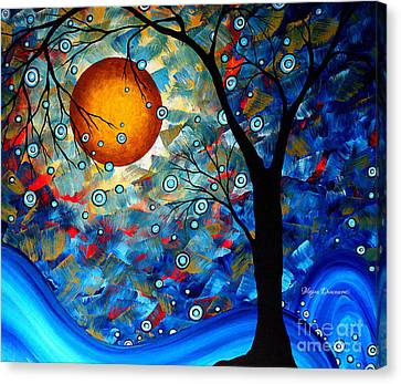 Contemporary Modern Art Original Abstract Landscape Painting Blue Essence By Megan Duncanson Canvas Print by Megan Duncanson