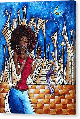 Contemporary New Orleans Jazz Blues Original Painting Singin In The Streets Canvas Print by Megan Duncanson