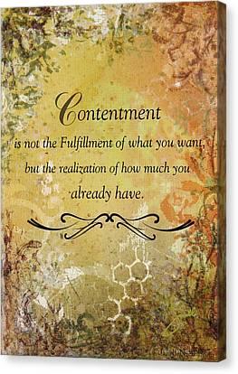 Contentment Inspirational Christian Art Print Canvas Print by Janelle Nichol