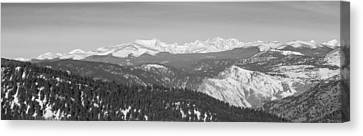 Continental Divide Rocky Mountain Snowy Peaks Panorama Bw Pt1 Canvas Print by James BO  Insogna