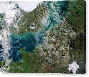 Contrails Over The English Channel Canvas Print by Jacques Descloitres, Modis Rapid Response Team, Nasa/gsfc