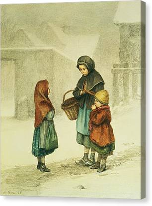 Conversation In The Snow Canvas Print by Pierre Edouard Frere