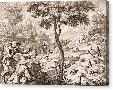 Cony Catching, Engraved By Wenceslaus Canvas Print by Francis Barlow