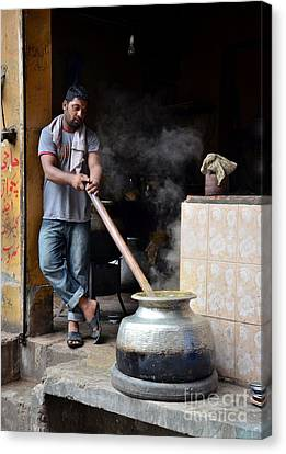 Cooking Breakfast Early Morning Lahore Pakistan Canvas Print by Imran Ahmed