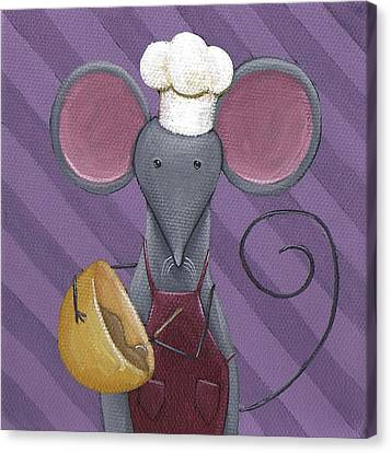 Cooking Mouse Kitchen Art Canvas Print by Christy Beckwith