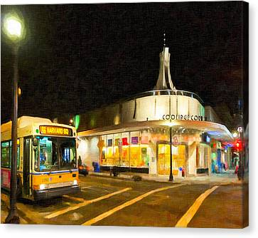 Coolidge Corner In Brookline At Night Canvas Print by Mark E Tisdale