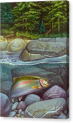 Coolwaters Rainbow Trout Canvas Print by Jon Q Wright